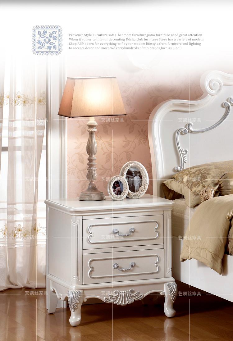 欧式奢华高贵床头柜 白色温馨床边储物柜